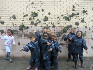 Fun in the mud, relaxed happy children